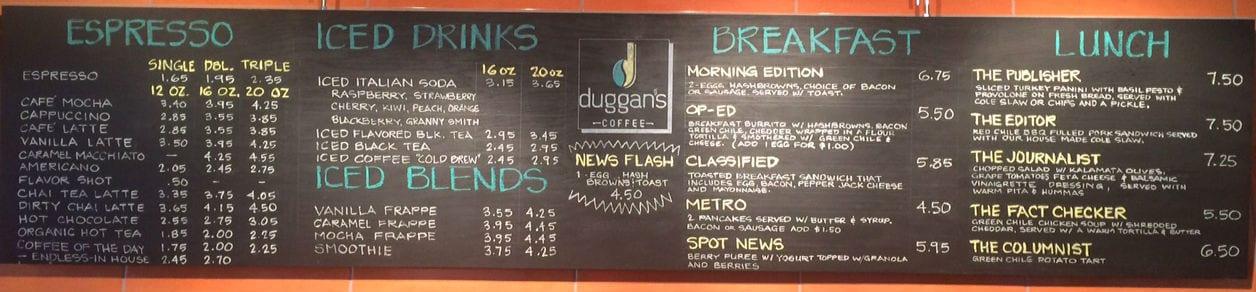 Duggans Coffee breakfast and lunch menu 5-20-2015